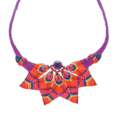 Amethyst macrame pendant necklace, 'Bohemian Star' - Handmade Amethyst and Macrame Necklace