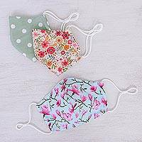 Cotton face masks, 'Summer Flowers' (set of 3) - Three Print Filter Pocket Cotton Face Masks