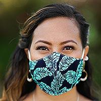Cotton face masks, 'Banana Leaves' (set of 3)