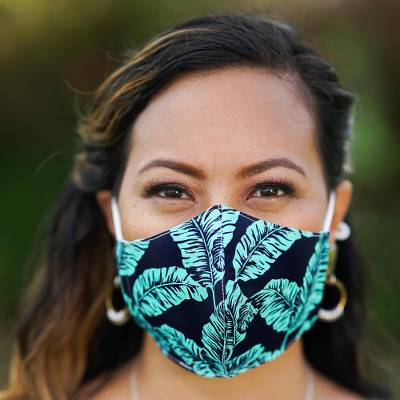 Cotton face masks, 'Banana Leaves' (set of 3) - 3 Banana Leaf Print Adjustable-Ear Loop Cotton Face Masks