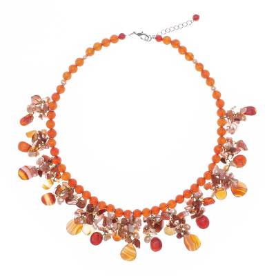 Artisan Crafted Pearl-Chalcedony-Carnelian Necklace