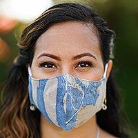 Cotton face masks, 'Bright Nature' (set of 3)