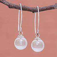 Quartz dangle earrings, 'Crystal Love' - Clear Quartz Bead Sterling Silver Dangle Earrings