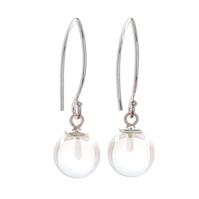 Quartz dangle earrings, 'Crystal Love' - Clear Quartz Bead Sterling Silver Dangle Earrings