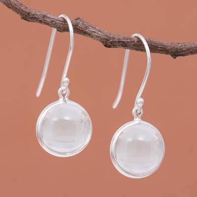 Quartz dangle earrings, 'Crystal Elegance' - Sterling Silver Dangle Earrings with Clear Quartz Bead