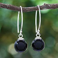 Onyx dangle earrings, 'Mood at Midnight' - Black Onyx Bead Sterling Silver Dangle Earrings