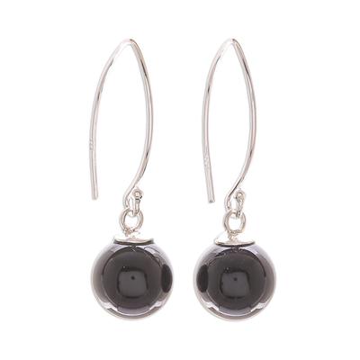 Onyx dangle earrings, 'Mood at Midnight' - Black Onyx Bead Sterling Silver Dangle Earrings