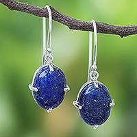 Lapis lazuli dangle earrings, 'Early Evening' - Lapis Lazuli Cabochon Sterling Silver Dangle Earrings