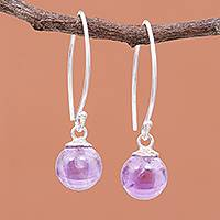 Amethyst dangle earrings, 'Lunar Lilac' - Amethyst Bead Sterling Silver Dangle Earrings