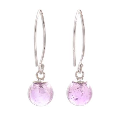 Amethyst Bead Sterling Silver Dangle Earrings