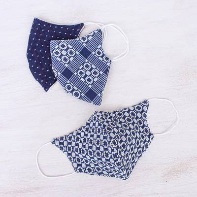 Cotton face masks 'Cool Thai Blues' (set of 3) - 3 Thai Handmade White & Navy Blue Cotton Face Masks