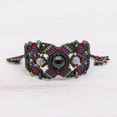 Multi-gemstone cord bracelet, 'Bohemian Nature in Black' - Multi-gemstone Cord Bracelet with Sliding Knot Closure