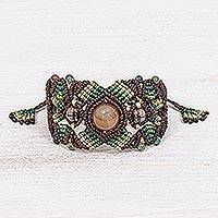 Multi-gemstone cord bracelet, 'Bohemian Nature in Brown/Green' - Multi-gemstone Cord Bracelet with Sliding Knot Closure
