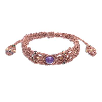 Amethyst Bead Cord Bracelet with Sliding Knot