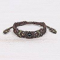 Onyx macrame bracelet, 'Summer Life in Dark Brown' - Black Onyx Bead Cord Bracelet with Sliding Knot
