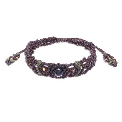 Black Onyx Bead Cord Bracelet with Sliding Knot