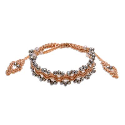 Chalcedony Beaded Macrame Bracelet with Sliding Knot