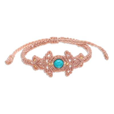 Reconstituted Turquoise Beaded Cord Bracelet