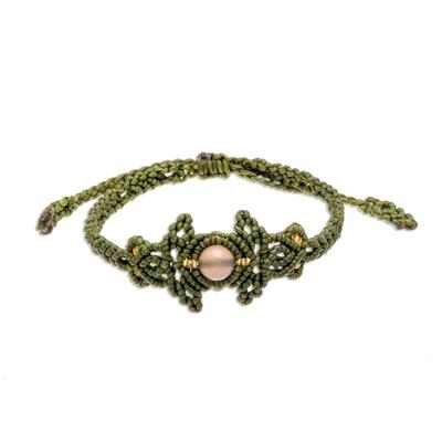 Chalcedony Beaded Macrame Bracelet