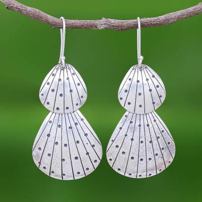 Silver dangle earrings, 'Karen Seashell' - Seashell Earrings in Karen 950 Silver