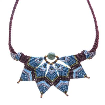 Agate macrame pendant necklace, 'Bohemian Star' - Agate Macrame Statement Necklace from Thailand