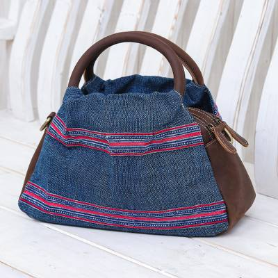 Leather-accented cotton handbag, 'Hmong Trails' - Leather and Cotton Handbag or Shoulder Bag