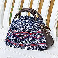 Leather-accented cotton batik handbag, 'Hmong Highlands' - Hmong Style Batik Handbag with Leather Trim