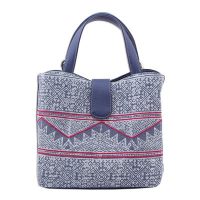 Cotton Batik and Faux Leather Shoulder Bag