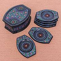 Lacquered wood coaster set, 'Nature's Revelation in Blue' (set of 6) - Handmade Lacquerware Coasters from Thailand (Set of 6)