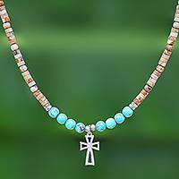 Multi-gemstone beaded pendant necklace, 'Earthy Cross' - Multi-Gemstone Beaded Cross Pendant Necklace