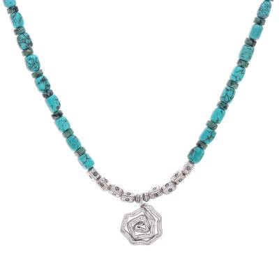 Reconstituted Turquoise Bead Karen Silver Pendant Necklace