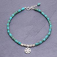 Reconstituted turquoise bead charm anklet, 'Sea to Sea' - Reconstituted Turquoise Beaded Sand Dollar Anklet