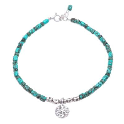 Reconstituted Turquoise Beaded Sand Dollar Anklet