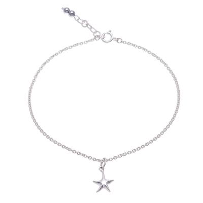 Sterling Silver Starfish Hematite Ankle Bracelet