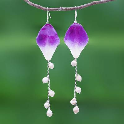 Orchid petal dangle earrings, 'Orchid Kite in Purple' - Real Orchid Petal Dangle Earrings on Silver Hooks