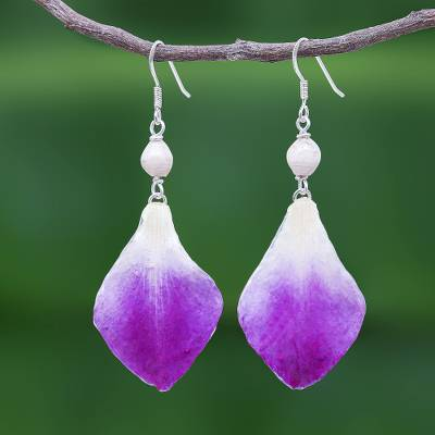 Orchid petal dangle earrings, 'Forever Orchid in Purple' - Purple and White Real Flower Petal Dangle Earrings