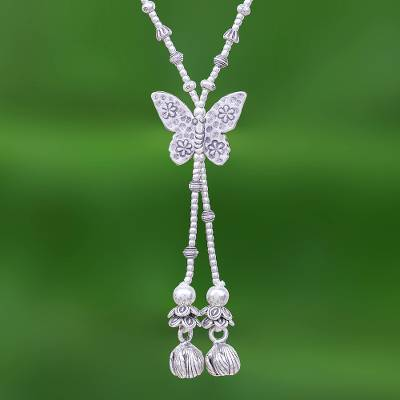 Silver lariat necklace, 'Butterfly Passion' - 950 Silver Butterfly Pendant Lariat Necklace