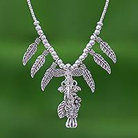 Silver charm Y-necklace, 'Lady Dragonfly' - 950 Karen Silver Dragonfly Charm Y-Necklace