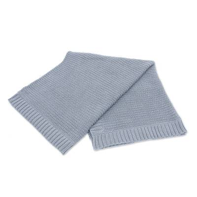 All Cotton Throw Blanket in Grey from Thailand