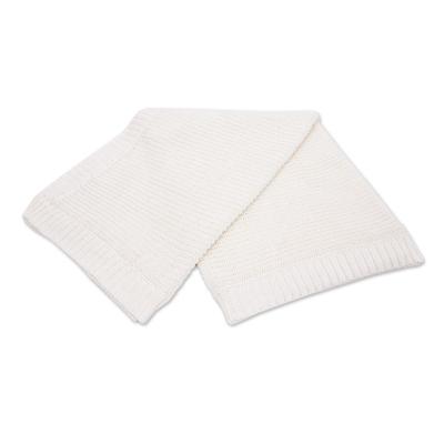 White All-Cotton Shaker Knit Throw Blanket