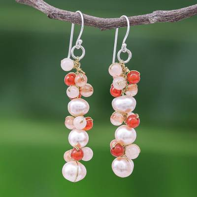 Multi-gemstone dangle earrings, 'Bellini Bubbles' - Cultured Freshwater Pearl Quartz Chalcedony Dangle Earrings