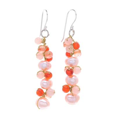Cultured Freshwater Pearl Quartz Chalcedony Dangle Earrings