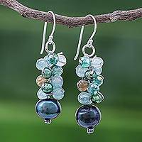 Cultured pearl beaded dangle earrings, 'Winter' - Blue-Green Gemstone Cluster Dangle Earrings