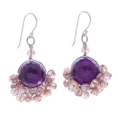 Purple Amethyst and Freshwater Pearl Dangle Earrings