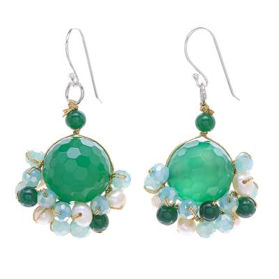 Green Quartz and Freshwater Pearl Dangle Earrings