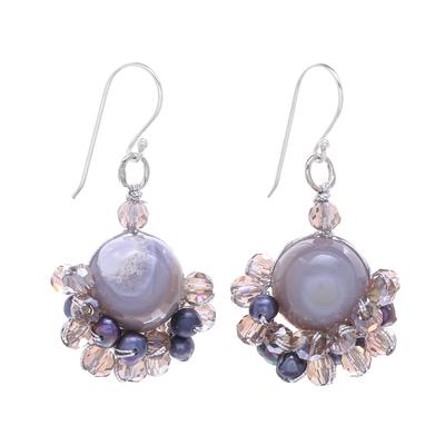 Grey Agate and Cultured Pearl Dangle Earrings