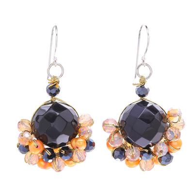 Black Onyx and Orange Freshwater Pearl Dangle Earrings