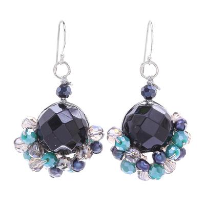 Onyx and Freshwater Pearl Dangle Earrings