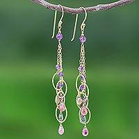 Gold plated tourmaline and amethyst waterfall earrings, 'Chiang Mai Rainbow' - Amethyst and Tourmaline Waterfall Earrings