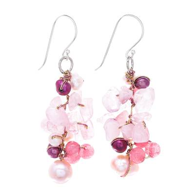 Rose Quartz and Cultured Freshwater Pearl Dangle Earrings